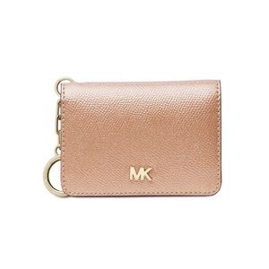 NWT! MK Crossgrain Leather Key Ring Card Holder